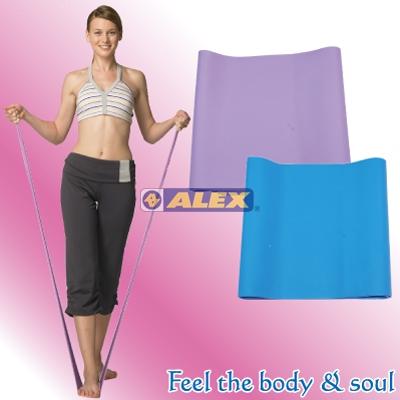 騎跑泳者-ALEX C-4701 伸展彈力帶-紫色/中型阻力,藍色/重型阻力,材質 :天然橡膠,14.5cm(寬) x 123cm(長)