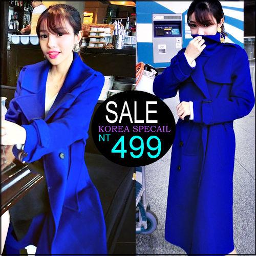 ☆克妹☆現貨+預購【ZT32223】歐美時尚深海藍立領雙排釦腰帶毛尼軍風長大衣外套