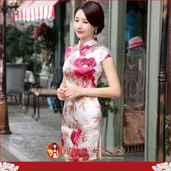 【水水女人國】~特價499元~平價旗袍風~朵朵花紅。復古仿絲印花包袖改良式時尚短旗袍