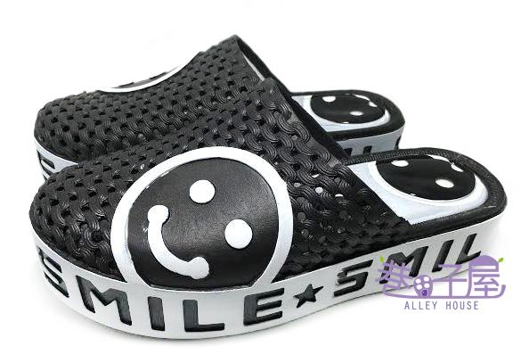 【巷子屋】女款微笑臉娃娃厚底懶人鞋 拖鞋 黑色 超值價$198