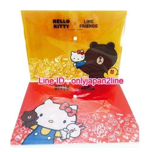 【真愛日本】16101300027 PP扣文件袋-KT&LINE2款    三麗鷗 Hello Kitty 凱蒂貓 文件袋 收納 文具