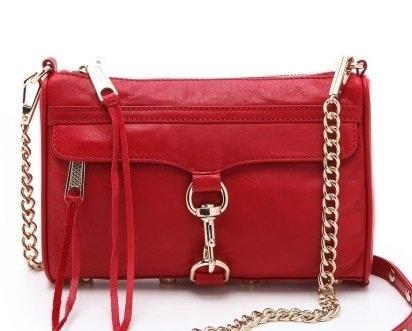 【Cadiz】美國正品 Rebecca Minkoff 大紅色銀釦鍊條單肩側背包 [Mini Mac/ 代購/ 現貨]
