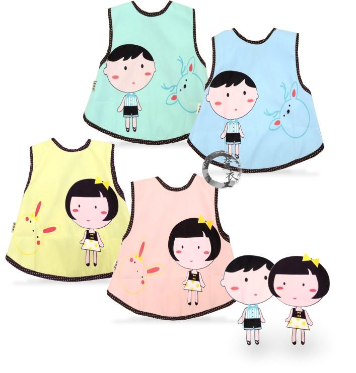 童衣圓【B061】B61娃娃背心 可愛 印花 工作服 綁帶 防撥水 透氣 防水 圍兜 飯兜 吃飯衣 背心兜