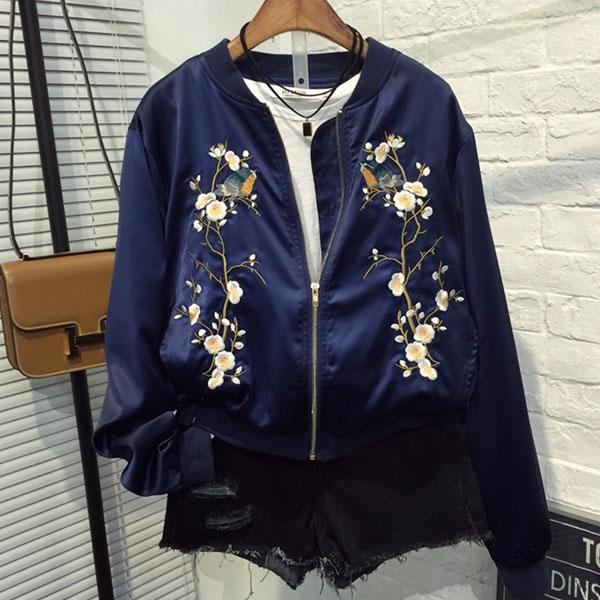 鳥 花 棒球 外套 緞面 運動 夾克 刺繡 復古 帥氣 光澤 韓 藍 顯瘦