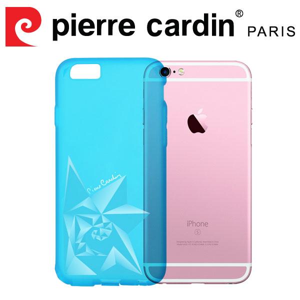 [ iPhone6/6s ] Pierre Cardin法國皮爾卡登3D立體玫瑰TPU透明手機殼 透藍色
