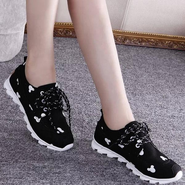 帆布鞋內增高米奇綁帶休閒鞋黑色-JC Collection