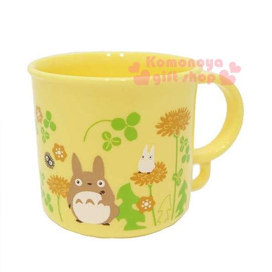 〔小禮堂〕宮崎駿 Totoro 龍貓 日製單把手塑膠杯《小.黃.三葉草.200ml》可當水杯或漱口杯