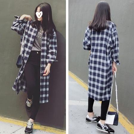 PS Mall BF風長款格子襯衫超百搭寬鬆磨毛長袖襯衫【T2804】