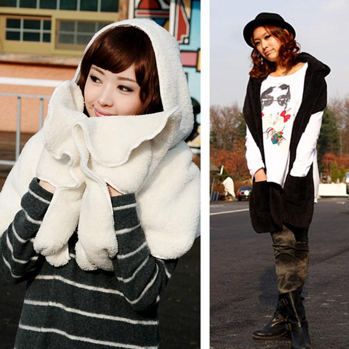 圍巾 披肩 保暖毯 連帽圍巾披肩【SK1715】快樂生活網