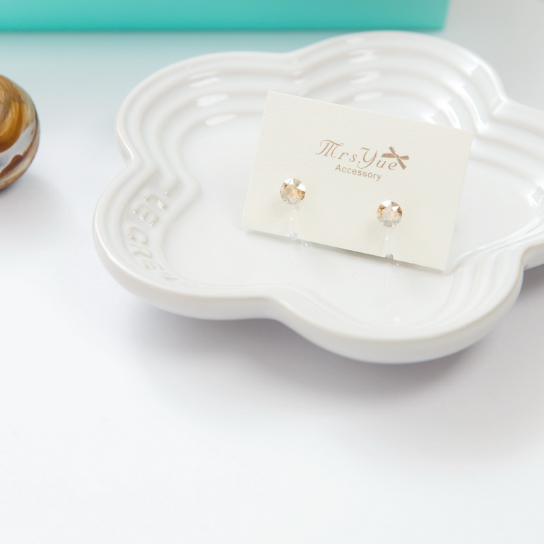 Mrs.Yue&夾式耳環-巴黎織花(香檳色)