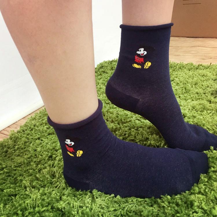 PGS7 迪士尼系列商品 - 正韓 迪士尼 米奇 捲捲邊 素色 長襪 襪子