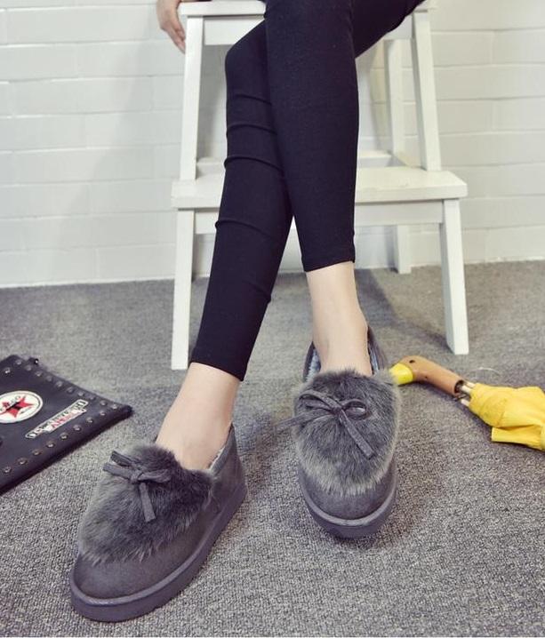 Ms.Perfect 韓版蝴蝶結加絨毛毛平底雪靴