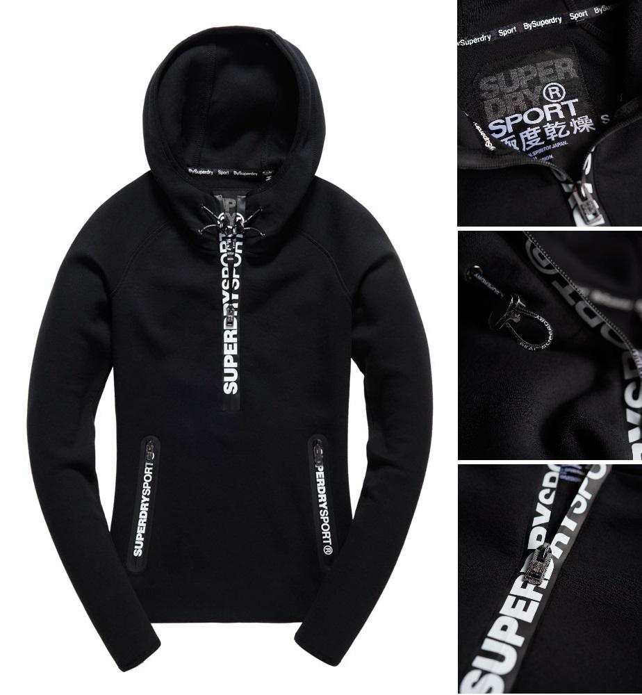 【女款】Superdry 極度乾燥 2016最新款 Gym Tech連帽外套 運動 休閒 純棉 舒適 外套 黑色