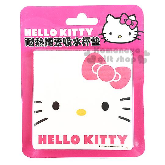 〔小禮堂〕Hello Kitty  陶瓷杯墊《方形.白.大臉.粉蝴蝶結》速乾吸水