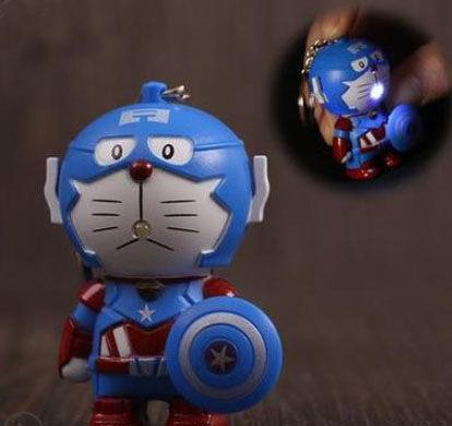 小叮噹機器貓鑰匙圈手電筒LED燈062882海渡