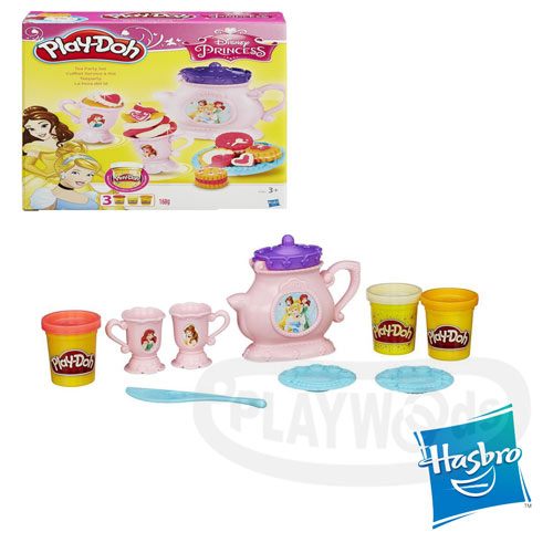 【Playwoods】[培樂多黏土PLAYDOH]迪士尼公主下午茶遊戲組(內含3罐黏土&模具/孩之寶Hasbro/Disney/美女與野獸/仙度瑞拉)