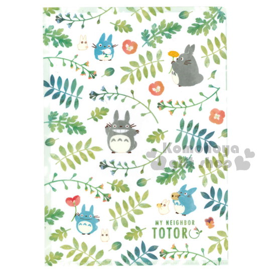 〔小禮堂〕宮崎駿Totoro龍貓 日製L型文件夾《綠白.花草.滿版》