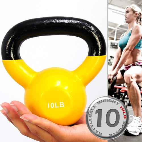 KettleBell包膠10磅壺鈴(橡膠底座)浸膠10LB拉環啞鈴.搖擺鈴.舉重量訓練.運動健身器材.推薦