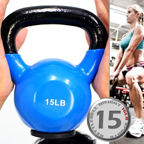 【壺鈴特惠↘重訓館】KettleBell包膠15磅壺鈴(橡膠底座)浸膠15LB拉環啞鈴.搖擺鈴.舉重量訓練.運動健身器材.推薦