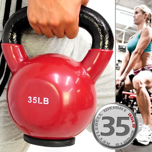 KettleBell包膠35磅壺鈴(橡膠底座)浸膠35LB拉環啞鈴.搖擺鈴.舉重量訓練.運動健身器材.推薦