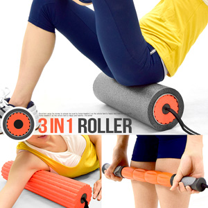 3IN1瑜珈滾輪(中空滾輪+瑜珈柱+按摩棒)(中空瑜珈柱指壓瑜珈棒.按摩滾輪狼牙棒滾筒FOAM ROLLER.推薦哪裡買)C109-5707