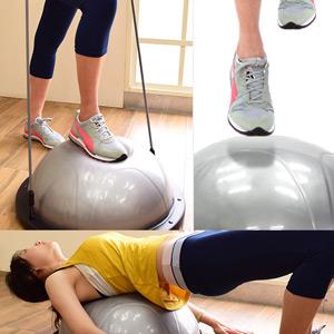 台灣製造 半圓瑜珈球有氧階梯踏板+彈力繩(韻律踏板有氧踏板.拉繩拉力繩拉繩平衡板.健身運動用品.推薦哪裡買)P260-BS500