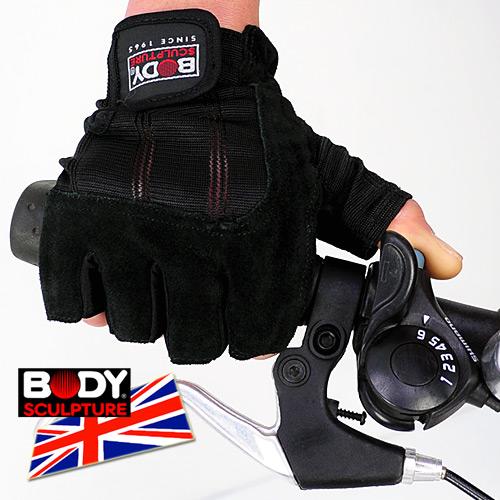 【BODY SCULPTURE】BW-85 絨面皮革運動手套(半指手套.露指手套.健身手套.自行車手套.腳踏車手套.運動防護具.便宜)