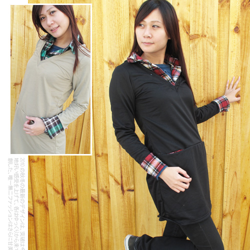 日系V領前插袋格紋假兩件襯衫棉T.流行女裝