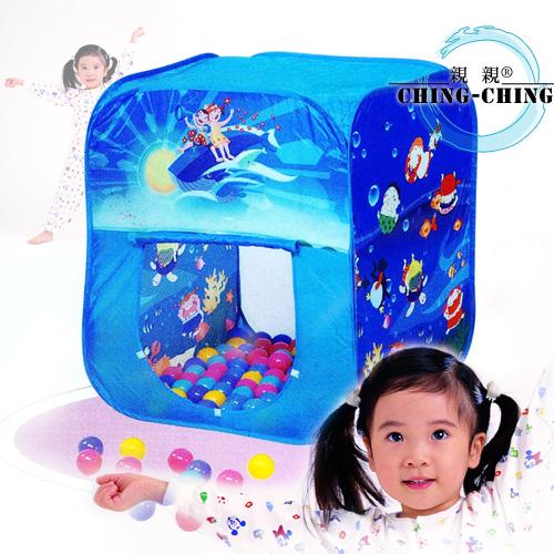 方形折疊帳篷+100球(台灣製造)(兒童遊戲帳棚.折疊遊戲球屋.彩球池.遊戲池.彩色塑膠軟球.ST安全玩具.兒童玩具)