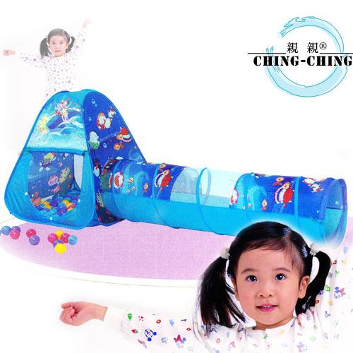 三角折疊帳篷+隧道+100球(台灣製造)(兒童遊戲帳棚.折疊遊戲球屋.彩球池.遊戲池.彩色塑膠軟球.ST安全玩具.兒童玩具)