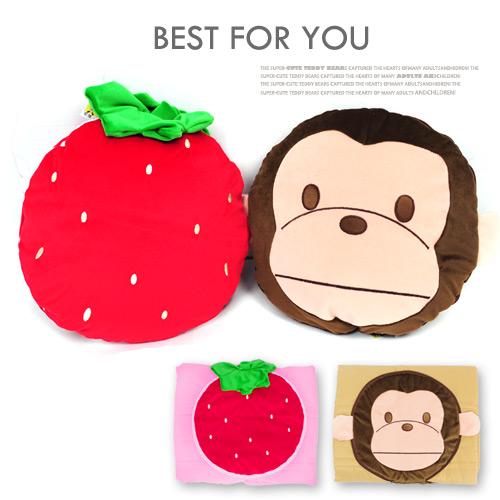 造型涼被抱枕(靠枕.立體抱枕.棉被子.被單.午睡抱枕.草莓造型.猴子造型.台灣製造.便宜)