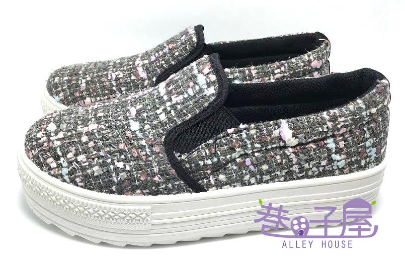 【巷子屋】吉梵尼梵侖鐵諾 女款毛呢厚底懶人鞋/樂福鞋 4cm [8216] 灰色 MIT台灣製造 超值價$198