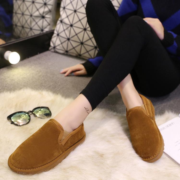 2016秋冬季韓版情侶大尺碼懶人套腳毛毛內裡短筒雪靴平底加絨棉保暖麵包鞋室內鞋