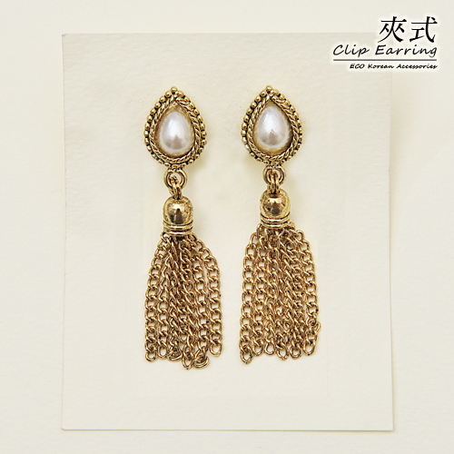 (預購)ECO安珂.古典美人復古風水滴珍珠墜流蘇 夾式耳環【2-1662】