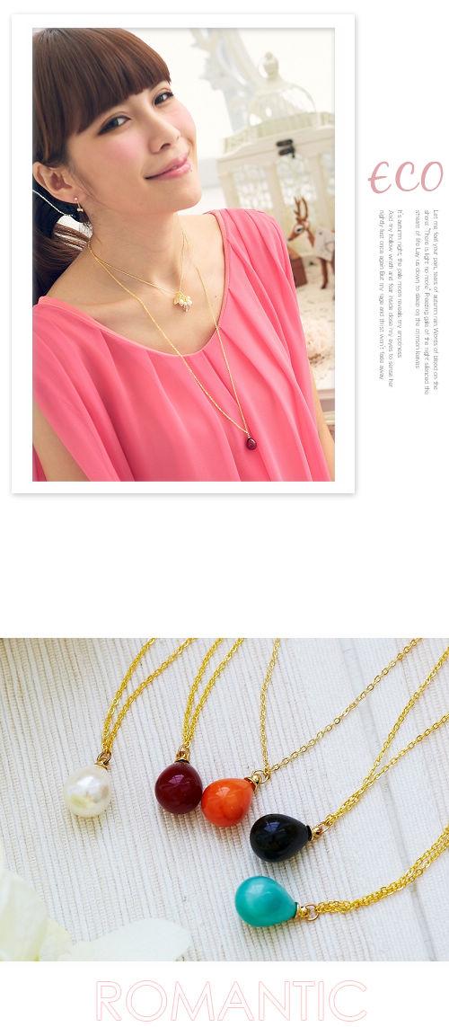 珠珠,水滴,項鍊,韓國,偶像劇,韓國飾品,韓星,立體
