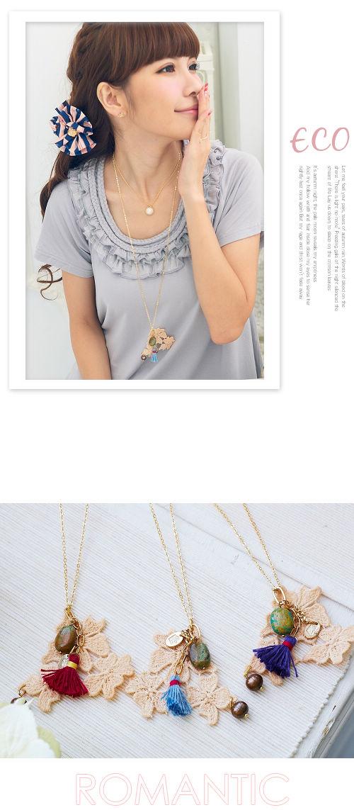 布質,寶石,流蘇,長項鍊,韓國製,韓國,項鍊