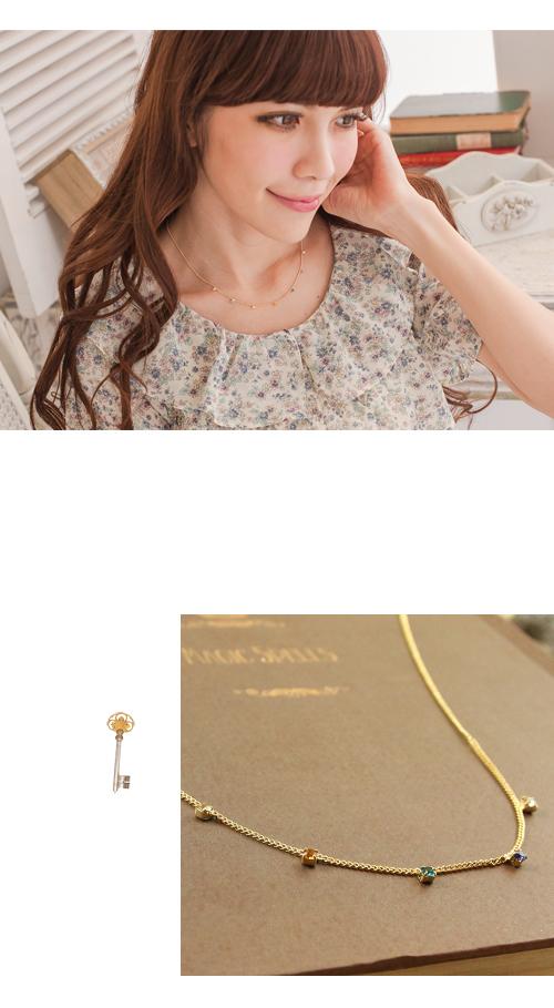 彩鑽,多鑽,鎖骨項鍊,韓國,韓製,韓貨,項鍊