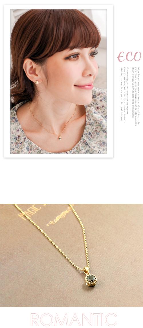 黑寶石,金框,鎖骨項鍊,短項鍊,韓製,韓國,項鍊