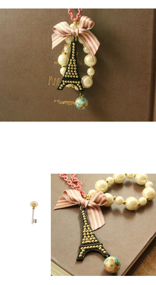 鐵塔,珍珠,蝴蝶結,彩色石頭,韓國,韓製,項鍊
