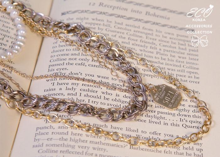多鍊項鍊,珍珠,長短鍊,金牌,韓製,韓國,項鍊