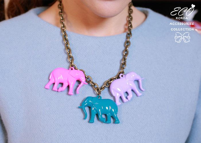 大象,鎖鏈,T扣鍊,短項鍊,韓國製,韓國,項鍊