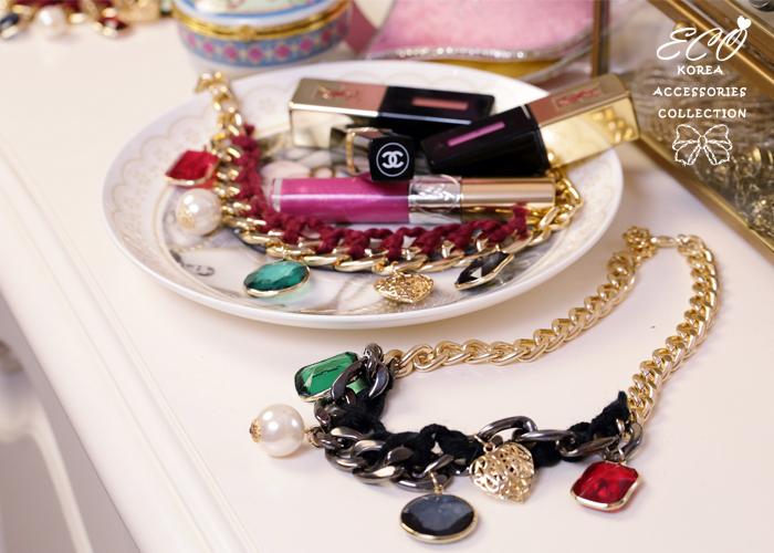 鎖鏈,毛線,寶石,珍珠,鏤空,韓國,項鍊