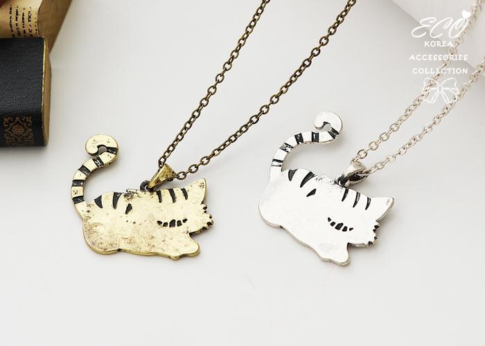 貓,復古,小貓,貓咪,長項鍊,韓貨,釉彩,韓製,項鍊