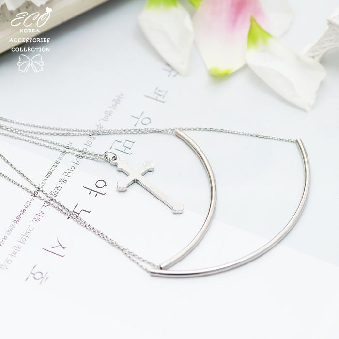 雙弧線,十字架,長項鍊,項鍊,韓貨,韓製,項鍊