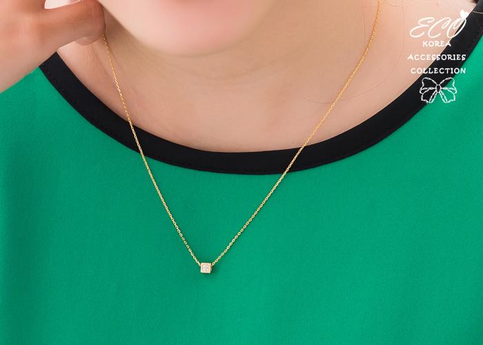 立體,方型,鑽,鎖骨項鍊,短項鍊,項鍊,韓貨,韓製,項鍊