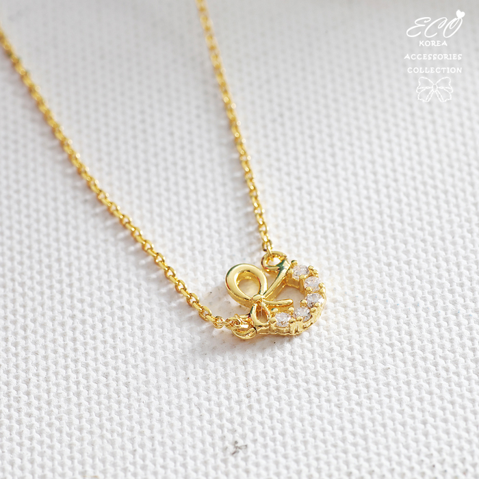 蝴蝶結,圓弧,鑽,鎖骨項鍊,甜美,可愛,韓貨,韓製,項鍊