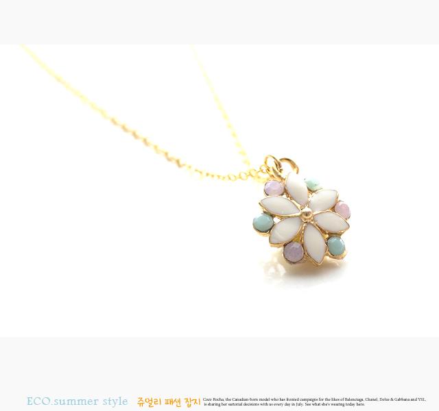 小花項鍊,蛋白石項鍊,鎖骨項鍊,韓國飾品,韓國項鍊,項鍊