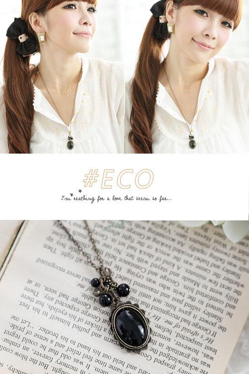寶石項鍊,長項鍊,黑寶石項鍊,韓國製項鍊,韓國飾品,項鍊