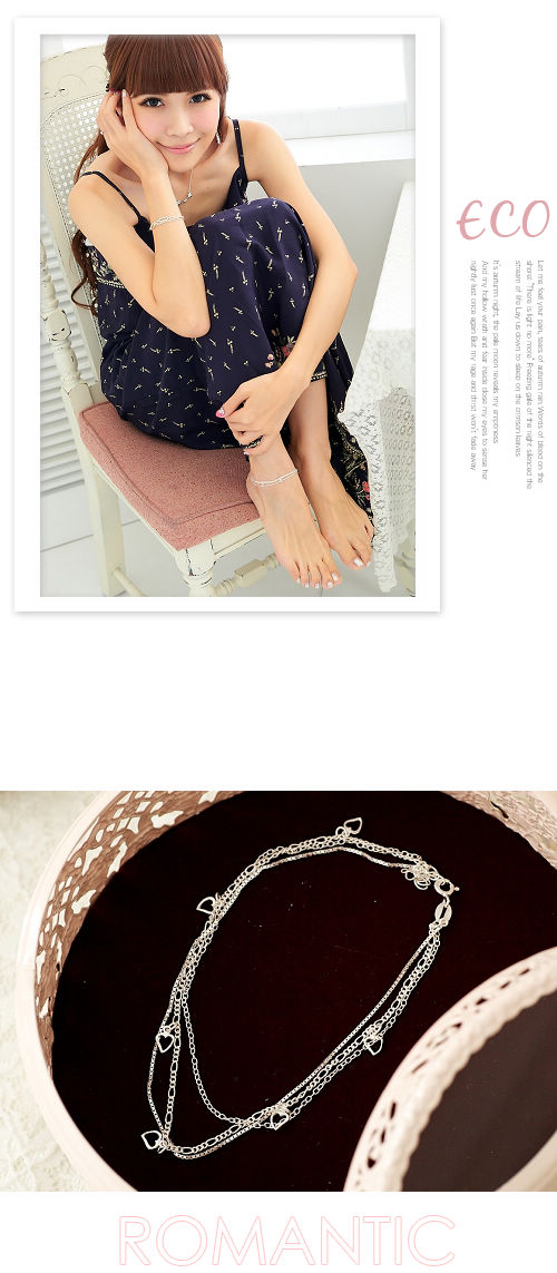 愛心,多鍊,三鍊,韓國製腳鍊,925純銀腳鍊,韓國飾品,純銀飾品