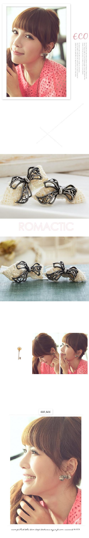 蝴蝶結耳環,蝴蝶結,蕾絲,蕾絲耳環,愛心耳環,韓國飾品,耳環